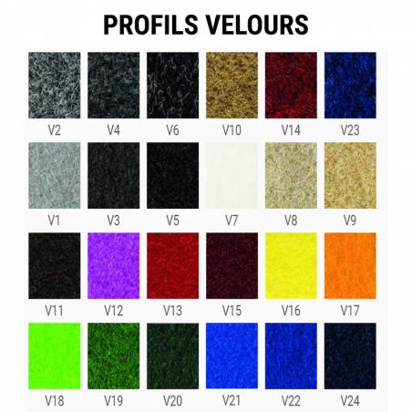 Tapis aluminium ultra fin caoutchouc/velours - Tapis aluminium